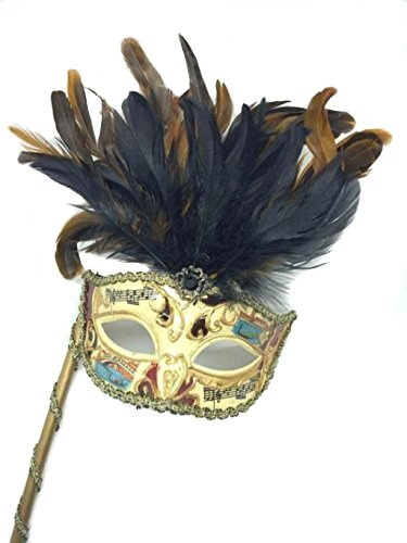Venetian Mysterious Musical Mardi Gras Masquerade Mask w/ Brown Feather and Stick