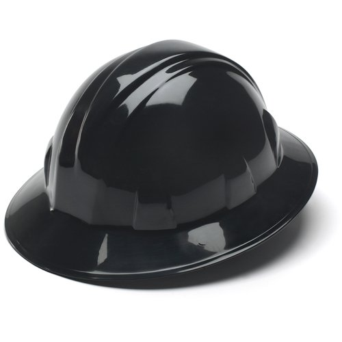 Pyramex Black Full Brim Style 4 Point Ratchet Suspension Hard Hat