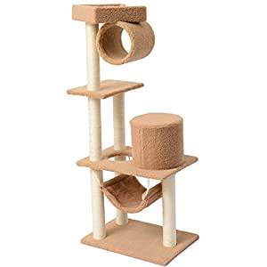 Pawhut 55Inch Cat Tree Pet Scratching Post Furniture, Coffee