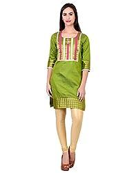 Zooraa Green Tussar Silk Kurti(M)