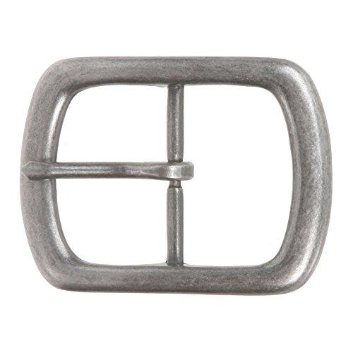 "1 1/2"" (38 mm) Nickel Free Center Bar Single Prong Rectangular Belt Buckle Color: Antique Silver"