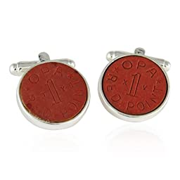 Cuff-Daddy OPA Red Point WWII Ration Cufflinks Clad in Sterling Silver