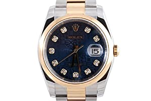 Rolex Mens 2 Tone Datejust Blue Dial Oyster Band from Rolex