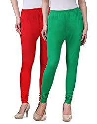Desi Duos Women's Solid Cotton Leggings With Great Red & Green Color