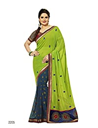 Aarti Latest Fashionable Party Wear Fancy Saree Bridal Embroidery Saree Wedding Wear Free Size - B00XA08F22