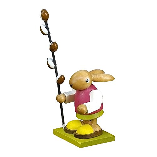 Alexander Taron Christian Ulbricht Ornament Bunny With cattails in Painted Wood Finish 4.5″H x 1.75″W x 2″D