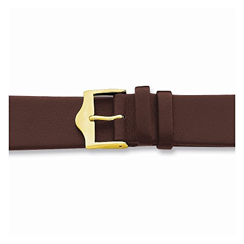 18Mm Flat Brown Leather Gold-Tone Buckle Watch Band