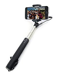 Selfie Stick [GLOBE STICK] Premium Quality Wired Universal Selfie Stick With Built-In Remote Shutter - Extendable Monopod Phone Holder, iPhone 6 6S 5 5S 4S 4 Samsung Android