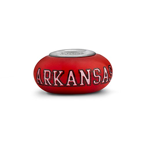 Arkansas Razorbacks Small Glass Bead Fits Most European Style Charm Bracelets