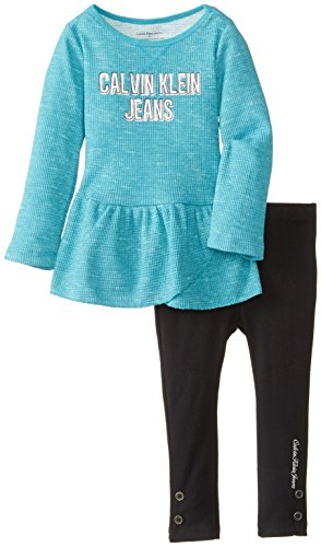 Calvin Klein Little Girls' Printed Burnout Thermal Tunic Set, Green, 4T front-1059211