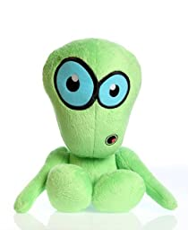 Hear Doggy Martians With Chew Guard Technology Tough Plush Dog Toy, Large Green with Ultrasonic Silent Squeaker