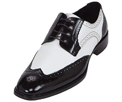 bolano mens two toned black and white classic smooth dress