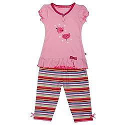 Buzzy Baby Girls' Cotton Set - Dress With Leggings (SANDRA_Lt.Pink_3-6M)