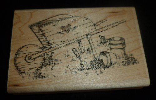 Wheel Barrow Rubber Stamp