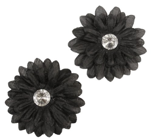 Webb Direct 2U Baby-Girls Set Of 2 Daisy Rhinestone Flw Clips Black (1149) front-646523