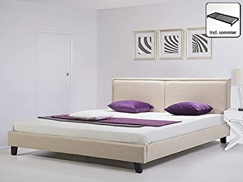 lit en tissu lit lit double 160x200 cm beige. Black Bedroom Furniture Sets. Home Design Ideas