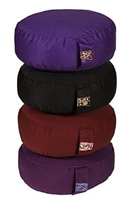 Yogilino® Reise Meditationskissen Mini oval, B 26 x L 21 x H 11 cm, Bezug und Inlett aus 100% Baumwolle, Füllung Buchweizenschalen, Bezug und Inlett maschinenwaschbar bis 30ºC