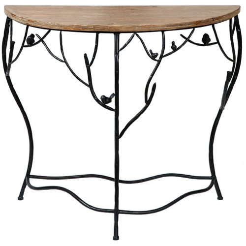 Image of Leaf design delicate half moon console table (B007UPRVWS)