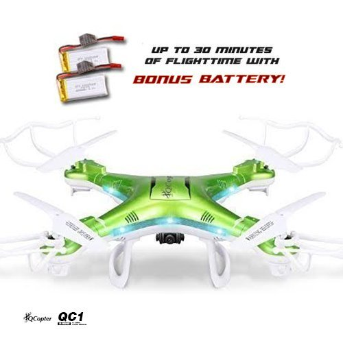 QCopter-QC1-Quadcopter-Drones-with-HD-Camera-LED-Lights-Green-Drone-BONUS-BATTERY-2X-FlightTime