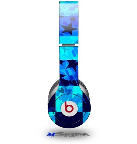 Blue Star Checkers Decal Style Skin (Fits Beats Solo Hd Headphones - Headphones Not Included)