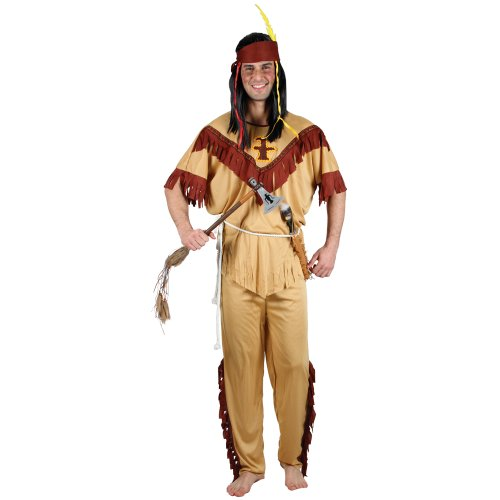 Indian Native Brave Mens Fancy Dress Costume With Headpiece Sizes S M L XL (Men:  Large)