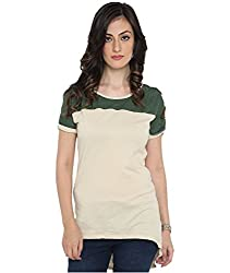 Bedazzle Casual Off White With Green Net Women's Top