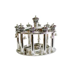 Sterling Silver Torah Crown with Drops and Eleven Small Crowns