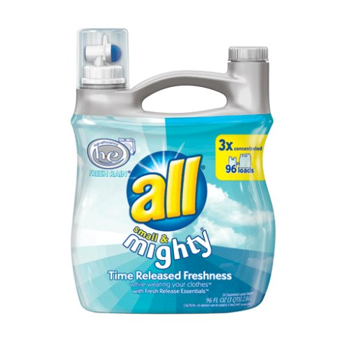 All Small & Mighty Triple Concentrated Liquid Laundry Detergent, Fresh Rain HE, 96-Ounce Bottles (Case of 4) 384 Loads