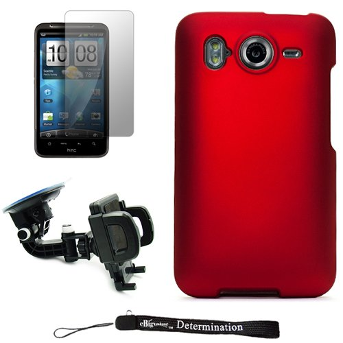 Red Smooth Design Cover / 2 Piece Snap On Crystal Protective Hard Case for HTC Inspire 4G Android Cell Phone ( AT&T ) * Includes a 360° Rotatable Windshield Mount * Includes Anti Glare Screen Protector Guard.