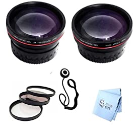 SAVEoN Professional Telephoto and Wide Angle Lens, and 3PC Filter Kit + Lens Adapter Tube + Lens Cap Keeper + SAVEoN MicroFiber Cleaning Cloth for the Panasonic Lumix FZ100 FZ150 FZ200