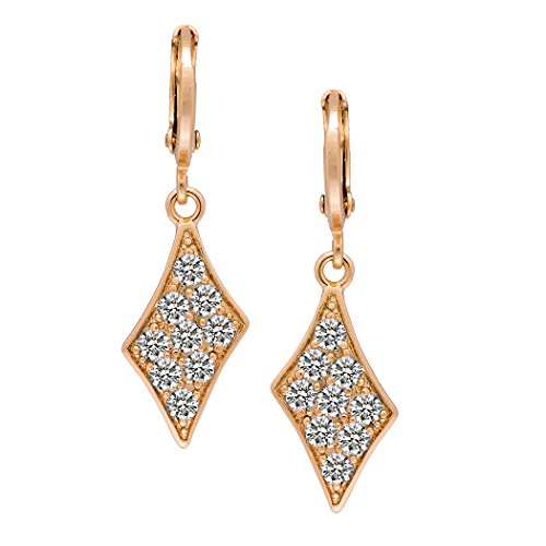 [Romantic Time Faceted Diamond 18k Rose Gold Plated Dangle Earrings] (Angel Wings Costume Malaysia)