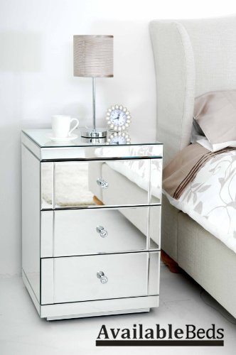 Mirrored Furniture Bedside Table cabinet 3 Drawers - (Chelsea range)- LUCIA
