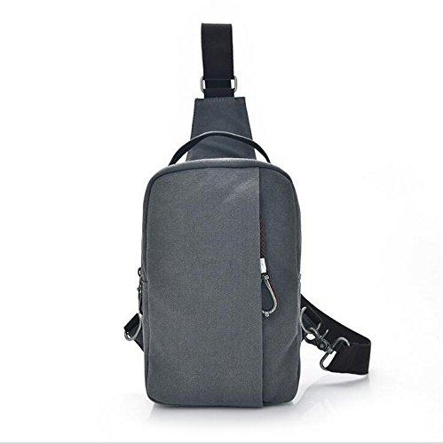 CMX Cassa dell'annata del doppia spalla maschile petto multifunzionale tela borsa viaggio borsa zaino borsa Messenger Pack , gray