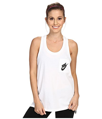 Nike Signal Tank Top Women's Sleeveless (XS, White/Black)