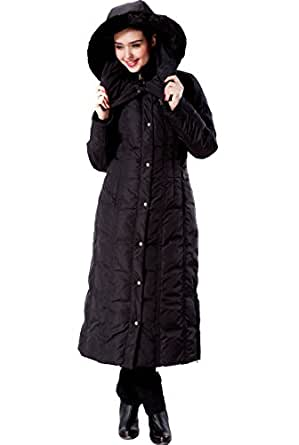 "Phistic Women's ""Lacey"" Long Hooded Puffer Down Coat - Black XS"