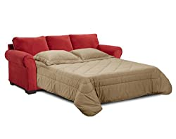 Simmons Aqua Red Elegant Micro Fiber Queen Size Sofa Sleeper