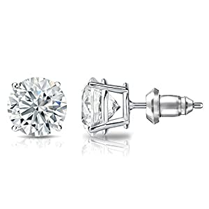 IGI Certified 14k White Gold 4-Prong Basket Round Diamond Stud Earrings (2 ct, G-H, SI1-SI2)