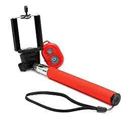 BMS Red Selfie Monopod Stick with Bluetooth Wireless Remote Shutter for iPhone, Samsung, HTC, etc Smartphones (Android and IOS Systems)