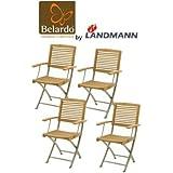 4er Set Belardo by Landmann Klappstuhl Garten Stuhl aus Teakholz und Edelstahl