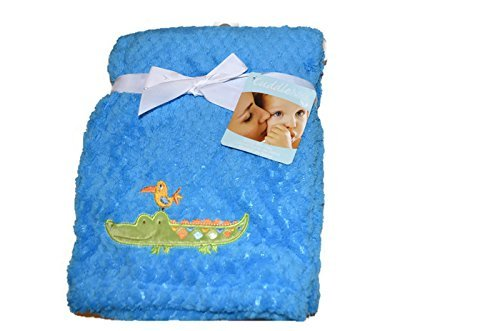 Cuddle Me Baby Blanket by NoJ0-Blue with Alligator and Bird - 1