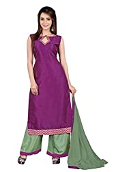 BanoRani Womens Wine & Green Color Banarasi Silk & Jacquard Self Design with Lace Work Unstitched Salwar Suit Dress Material (Plazzo)