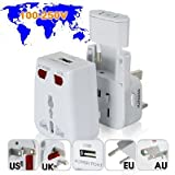 Voltage Converter World Travel Adapter with USB Charging Port + Surge Protection Gadgets