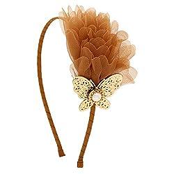 Girls Coffee Color Chiffon Faux-Pearl Butterfly Hairband/Headband