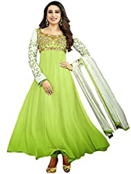 Rozdeal Women Georgette Embroidered Unstitched Long Sleeve Green Anarkali Suit