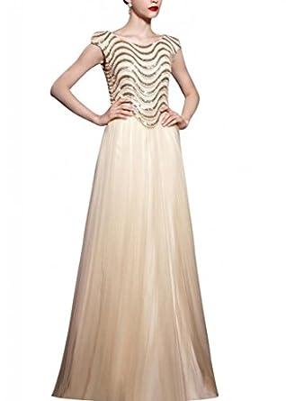Kingmalls Womens A-Line Unique Sequin Satin Prom Dress (XX
