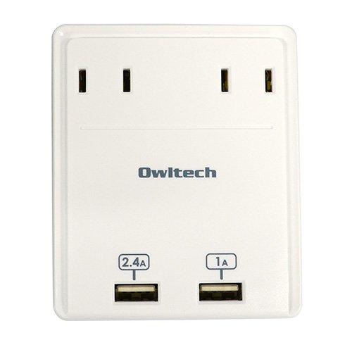 オウルテック USB急速充電対応 マルチACアダプタ USBポート2口(合計3.4A)+コンセント2口 1年保証 iPhone6/6Plus/5S/5C/5/iPad air/mini/Galaxy/Xperia/Nexus等スマートフォン タブレットPC対応 ホワイト OWL-ACU2A2WH