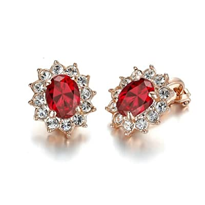 Yoursfs Unique Kate Middleton Style Ruby Jewelry 18K Rose Gold Plated Crystal Clip-on Earrings