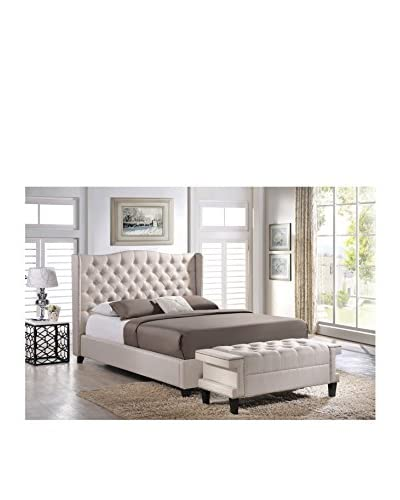 Baxton Studio Norwich King Size Linen Modern Platform Bed With Bench, Light Beige