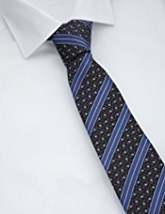 Collezione Made in Italy Pure Silk Textured Geometric & Striped Tie