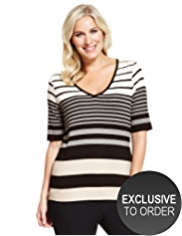 Plus V-Neck Striped Top with StayNEW™